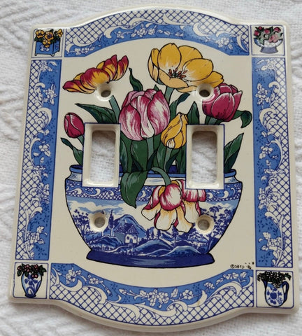 Blue & White Chinoiserie  Double Light Switch Plate w/ Pink Tulips & Yellow Jonquils