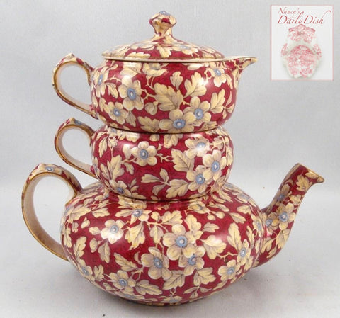 1940 Lord Nelson English Chintz Stackable Tea Set Stacking Teapot Sugar & Creamer Tea Set