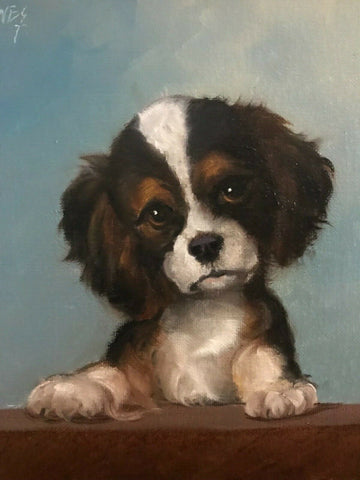 Original Artist Signed Oil Painting Cavalier Spaniel Pup Dog Portrait w/ Paws on Table