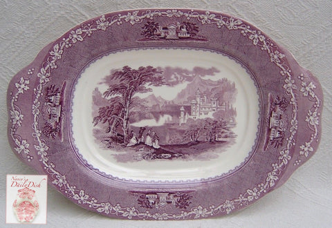 "17"" Tab Handled Purple Transferware Underplate Platter Jenny Lind Mountain Scenes"