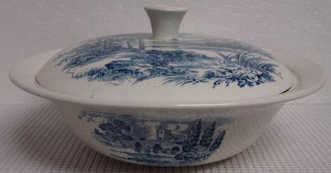 Wedgwood Blue Transferware Covered Dish / Tureen / Casserole English Countryside Bridge Castle