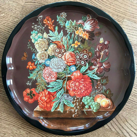"12"" Vtg Round English Tole Tray / Charger Bountiful Harvest Bouquet Floral Fruit Butterfly"