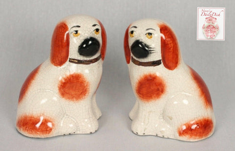 "Antique Miniature Pair of 4"" Rust Brown & White English Staffordshire Spaniel Dog Figurines"