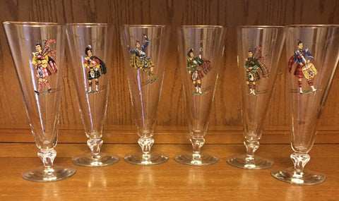 Set of  Vintage Scottish Highlander Clan Tartan Kilt Pilsner Beer Drinking Glasses