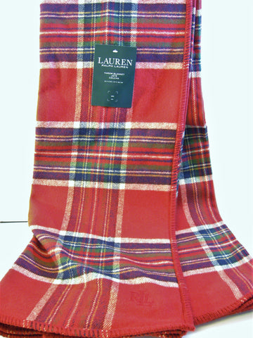 Ralph Lauren Tartan Plaid Blanket Throw Tablecloth Red / Green / Blue/ White New
