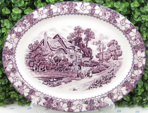 Lg Vintage Purple English Transferware Platter Cottage Children Sheep Peonies