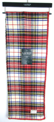 Ralph Lauren Tartan Plaid Blanket Throw Tablecloth Red / Cream / Blue/ Black / Yellow NEW