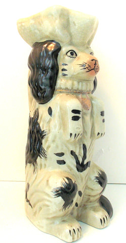 Black & White Staffordshire Begging Spaniel Dog Figural Pitcher / Vase