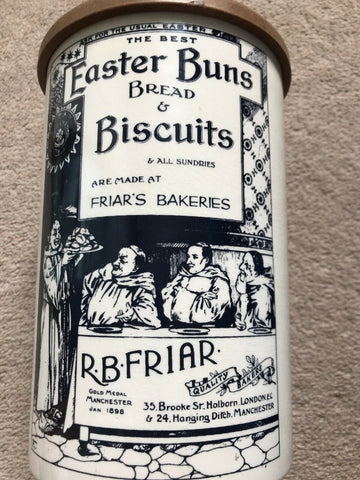 Antique Black Transferware RARE Easter Biscuits & Bread Advertising English Ironstone Canister Jar Utensil Holder