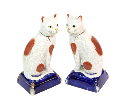 "Vintage 8"" Pair Fitz Floyd Staffordshire style Cat Figurines on Blue Base"