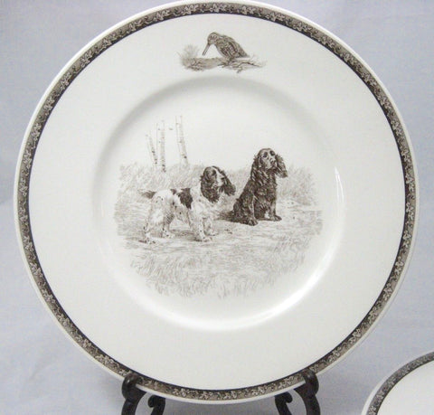 Vintage Brown English Transferware Plate Wedgwood Cocker Spaniel American Sporting