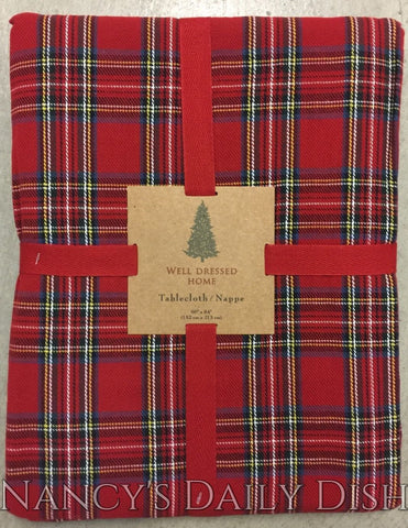 "New Tartan Plaid Well Dressed Home Red Tartan Plaid Traditional Tablecloth 60"" Round"