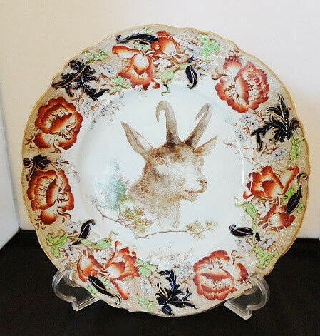 Wedgwood Antique Enameled Clobbered Transferware Game Big Horn Sheep Plate