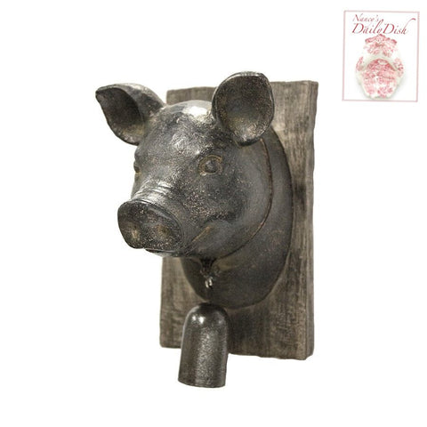 Farmhouse / French / English Country Pig Boar Head w/ Bell on Faux Bois Wooden Plaque Wall Hanging
