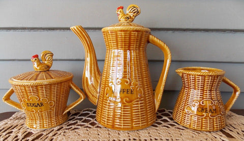 Vintage Golden Amber Majolica Advertising COFFEE Pot  SUGAR Bowl & CREAM Pitcher - Basket Weave w/ Rooster Chicken on Lid