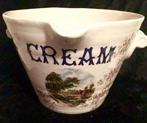 Floral Antique Advertising Grocers Dairy Display English CREAM Pail w/ Cottage