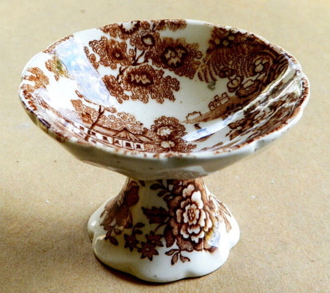 Brown Transferware Pedestal Master Salt Cellar Tonquin Royal Staffordshire