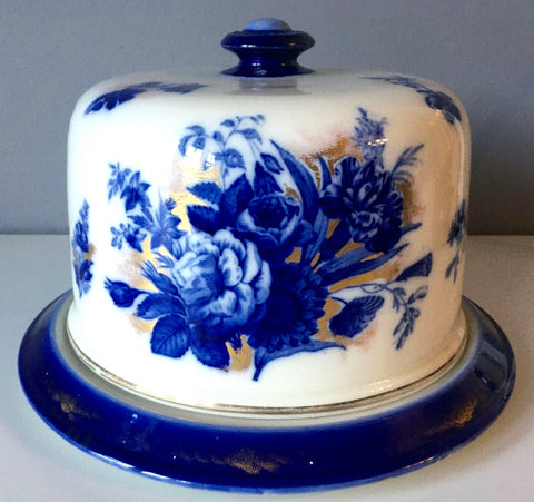 Antique Gold Luster Flow Blue Flowers English Transferware Staffordshire Covered Cheese Plate