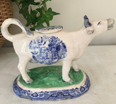 Antique English Staffordshire Chinoiserie Blue Willow Cow Creamer