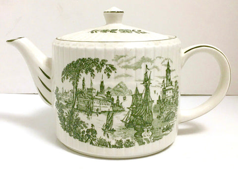 Green Transferware Chinoiserie Teapot Safe Harbour Nautical Ship Scene Safe Harbour