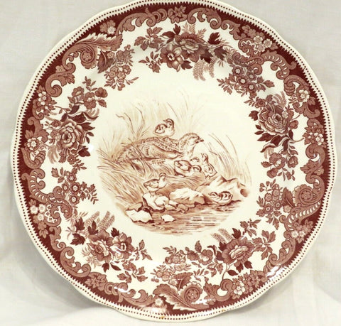 Spode Copeland Antique Brown Transferware Grouse & Baby Squealers Plate No 19 circa 1930
