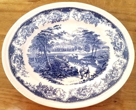 Lg Vntg Blue & White Platter Cows / Dry Stone Walling / Blackberry Border