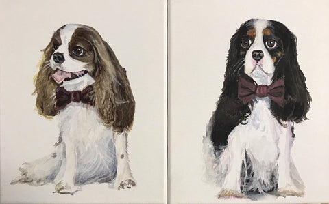 Pair of Original Artist Signed Painting King Charles Cavalier Spaniel Dog Portraist w/ Burgundy Bow