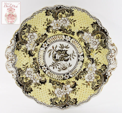 Yellow & Brown Two Color Transferware Plate Antique 19C  Staffordshire Roses Ridgway