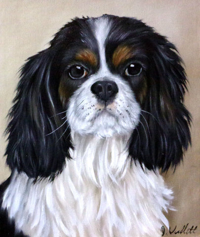 Cavalier King Charles Spaniel Original Hand Painted Dog Portrait Artist Signed Painting