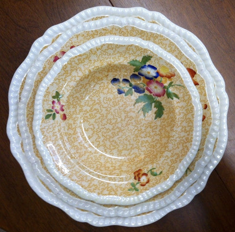 Spode Copeland Yellow Transferware Rimmed Soup Bowl Polychrome Flowers