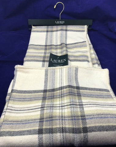 Ralph Lauren Cotton Throw Blanket 54 x 72 Plaid Grey Taupe Khaki Cream - NEW