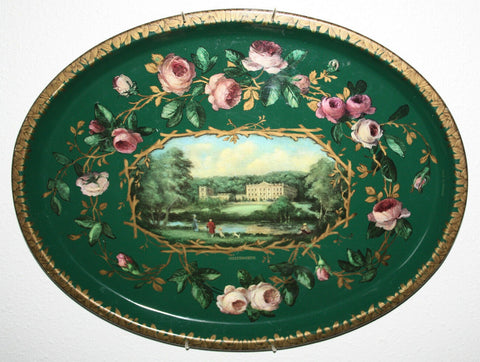 Vintage Green English Tole Toleware Tray Pink Roses Derwent River Chatsworth House