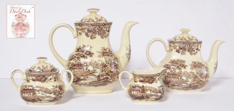 Brown Polychrome English Transferware Tea Set Teapot Sugar Creamer Coffee Pot Tonquin Waterfall Swans Sailboat