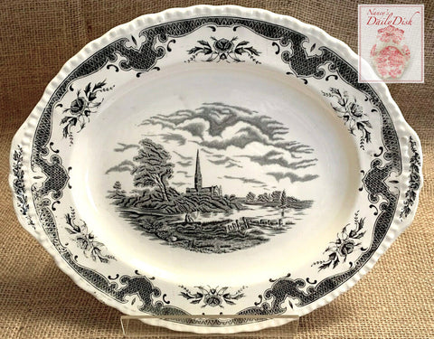 Antique Black Transferware Tab Handle Platter John Constable Salisbury Cathedral