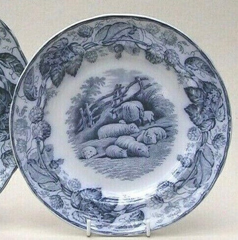 Flow Blue Transferware Plate Copeland Spode Grazing Sheep 1880 RURAL SCENES by DUNCAN with Hops Border