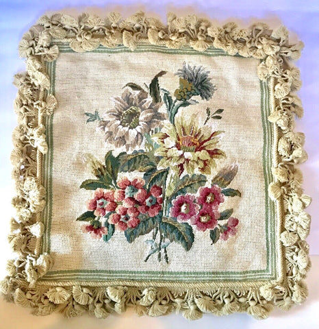 New Floral Needlepoint Petit Point Pillow Cover Thistle Phlox Tearose w/ Tassel Fringe
