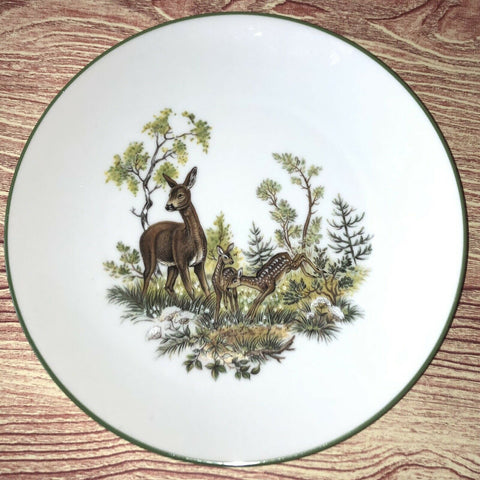 Vintage Bavarian Woodland Deer Doe & Fawn in the Forest Plate Green Trim