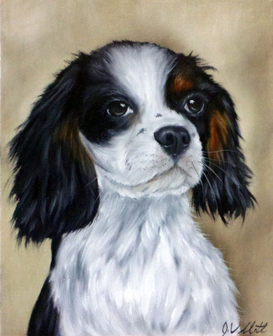 King Charles Cavalier Spaniel Original Hand Painted Dog Portrait Artist Signed Painting