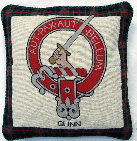 Gunn Clan Coat of Arms & Motto  Scottish Wool Needlepoint Pillow Cover Tartan Plaid