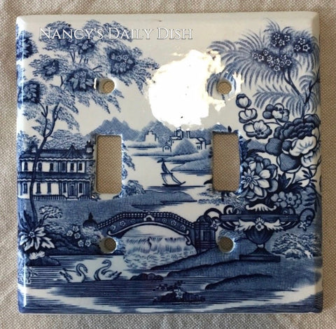 RARE Blue Transferware Double Light Switch Plate Tonquin English Staffordshire