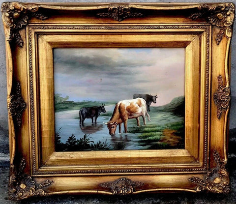 Grazing Cattle / Cows / Bovine  Oil Painting Framed Ornate Gilded / Gold Frame