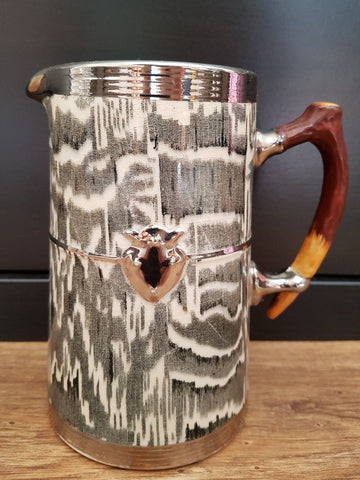 Circa 1934 Faux Bois Black English Transferware Pitcher / Utensil Holder Silver Shield Wood Grain Antler Shaped Details