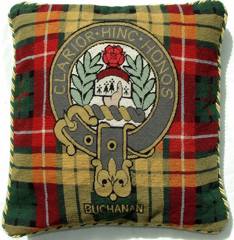 Scottish Tartan Plaid Buchanan Clan Motto Wool Needlepoint Pillow Cover