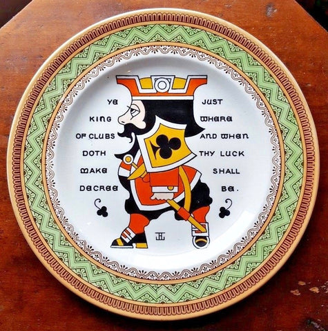 Wedgwood Antique Aesthetic Transferware Plate YE KING OF CLUBS Playing Card