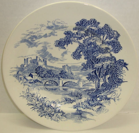 Vintage Blue & White Toile Transferware Plate Scenic English Countryside Bridge Castle