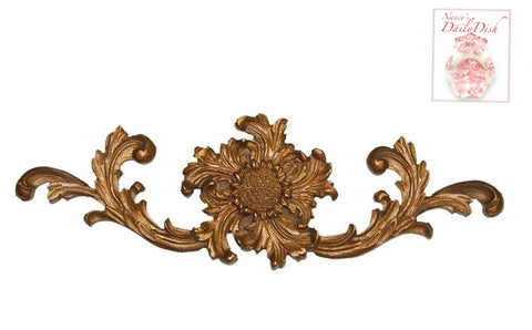 Antique'd Gold Hand Finished French Scrolled Harvest Sunflower Overdoor Etienne Picture Topper