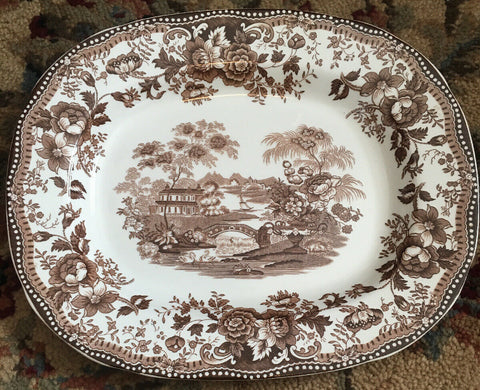 "14"" Vintage Brown Transferware Platter Royal Staffordshire Tonquin Clarice Cliff Cottage Swans & Roses"