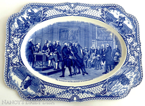 Blue & White Transferware Platter The Signing of the Declaration of Independence Colonial Times American History / Historical Staffordshire