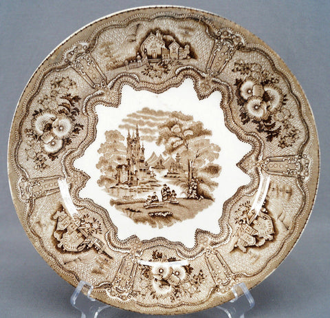 Antique 1850-70 Brown Scottish Transferware  Plate Verreville Pottery Glasgow Syria
