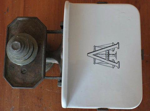 Antique Black Advertising Grocers Scale English Dairy Birmingham Avery Scales